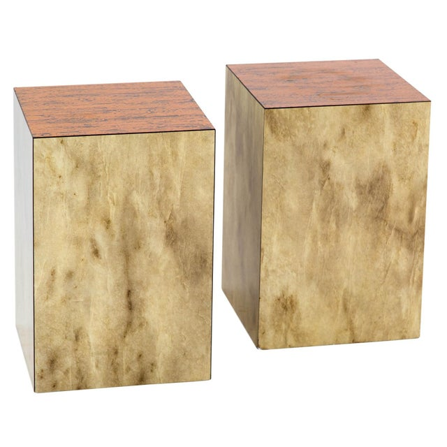 Copper Top Cube Side Tables, a Pair For Sale In Milwaukee - Image 6 of 7