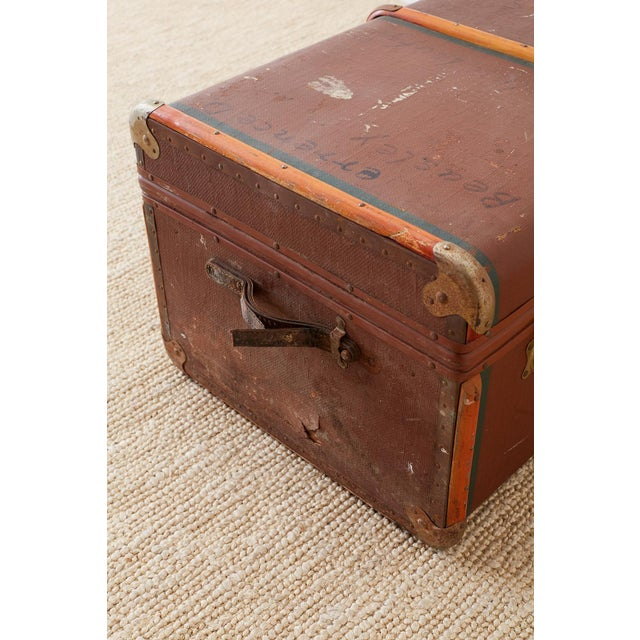 Early 20th Century Painted Steamer Travel Trunk For Sale - Image 11 of 13