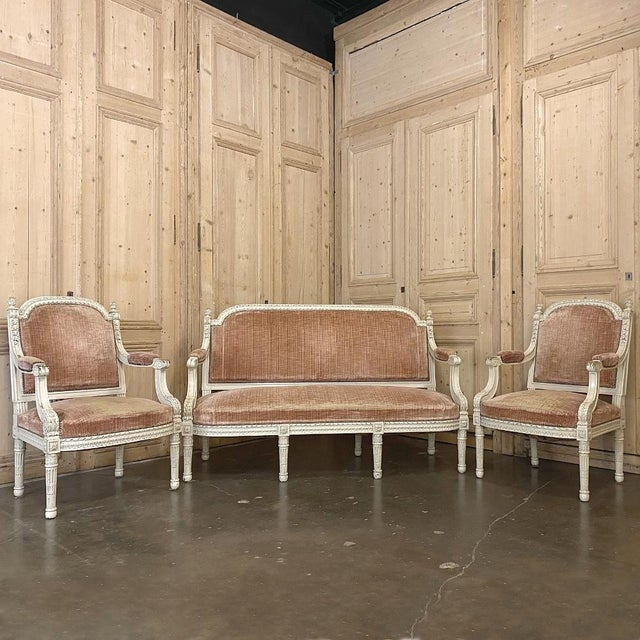 Pair 19th Century French Louis XVI Painted Armchairs ~ Fauteuils is the perfect expression of the breed, with architecture...