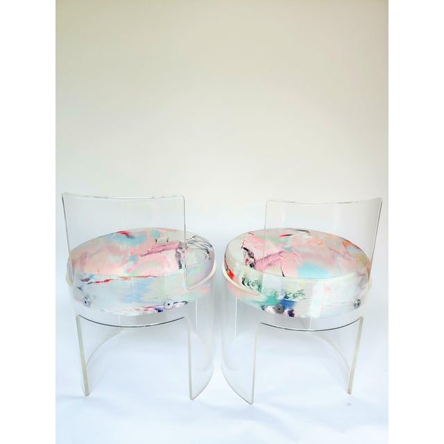 Casati & Ponzio for Comfort Italy Lucite Barrel Chairs - a Pair For Sale In Charleston - Image 6 of 8
