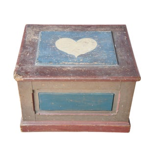 20th Century American Painted Trunk Blanket Chest Box Primitive Folk Art For Sale