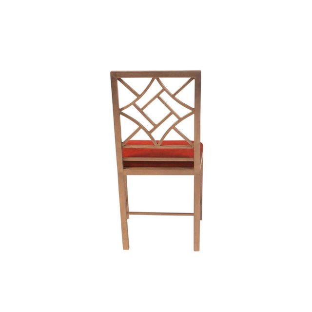 1990s Steel Chinese Chippendale Side Chair For Sale - Image 4 of 5
