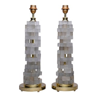 Cubist Style Murano Glass Lamps - a Pair For Sale