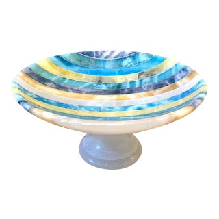 1960s Italian Striped Alabaster Compote/Trinket Dish For Sale