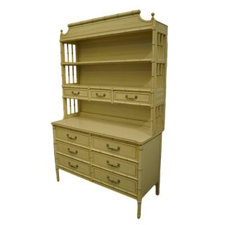Henry Link Cream Painted Asian Inspired Faux Bamboo Bookcase For Sale
