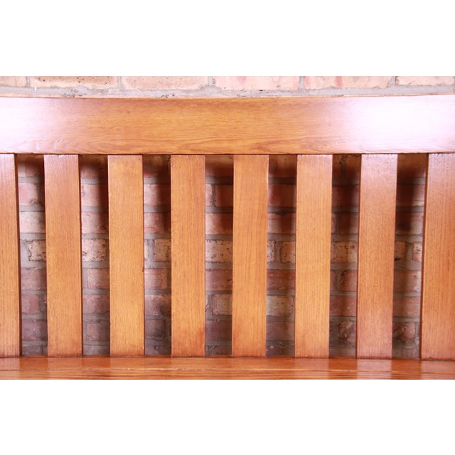 Brown Antique Stickley Style Arts & Crafts Solid Oak Settle or Bench For Sale - Image 8 of 13