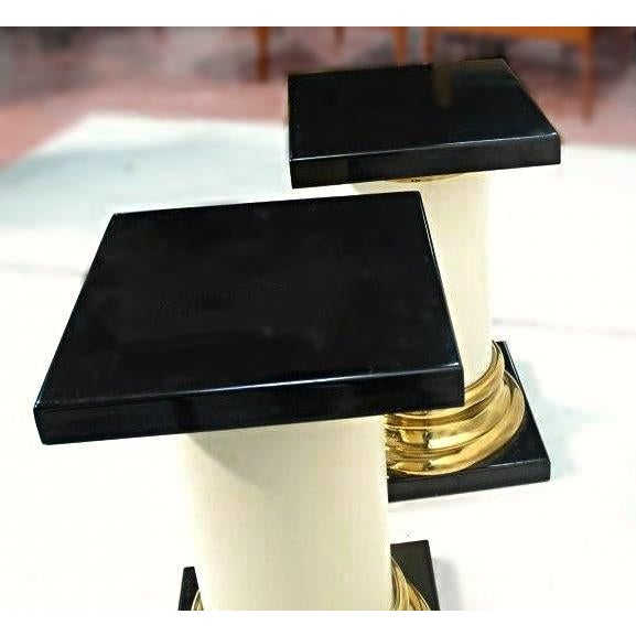 Brass Mastercraft Mid-Century Modern Lacquer Brass Pedestal Tables - A Pair For Sale - Image 7 of 9