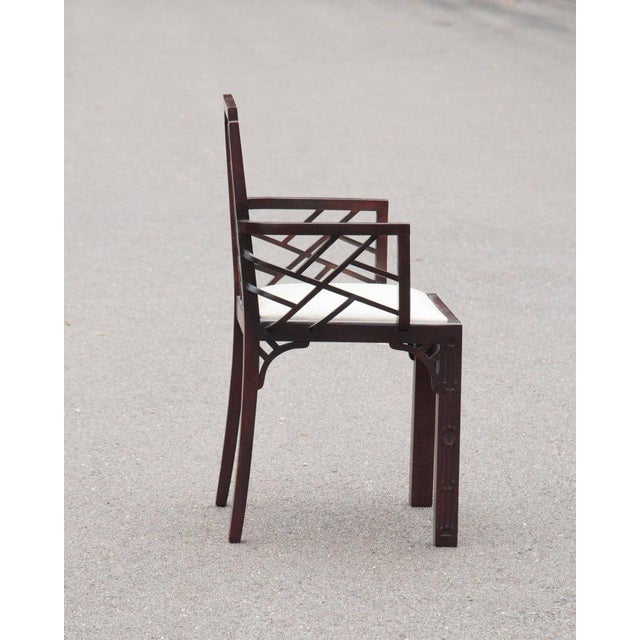 Gorgeous Chinese Chippendale Style Fretwork Dining Chairs - Set of 6 - Image 8 of 10