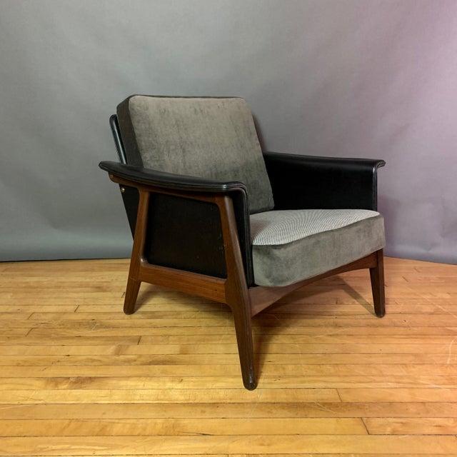 Animal Skin Pair Danish Design Black Naugahyde Wrapped Lounge Chairs For Sale - Image 7 of 13