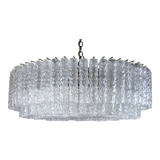 Large Tronchi Chandelier with Heavy Round Murano Tubes, Italy, 1970s For Sale