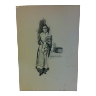"Vintage Miles Standish Print ""Wiping the Dish"" by Howard Christy 1903 For Sale"
