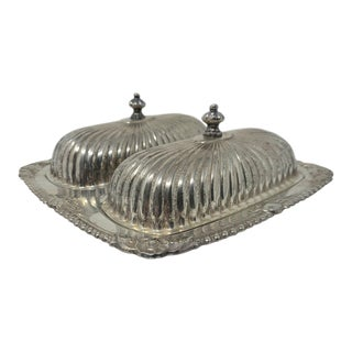 Vintage Silver Plated Double Butter Dish For Sale
