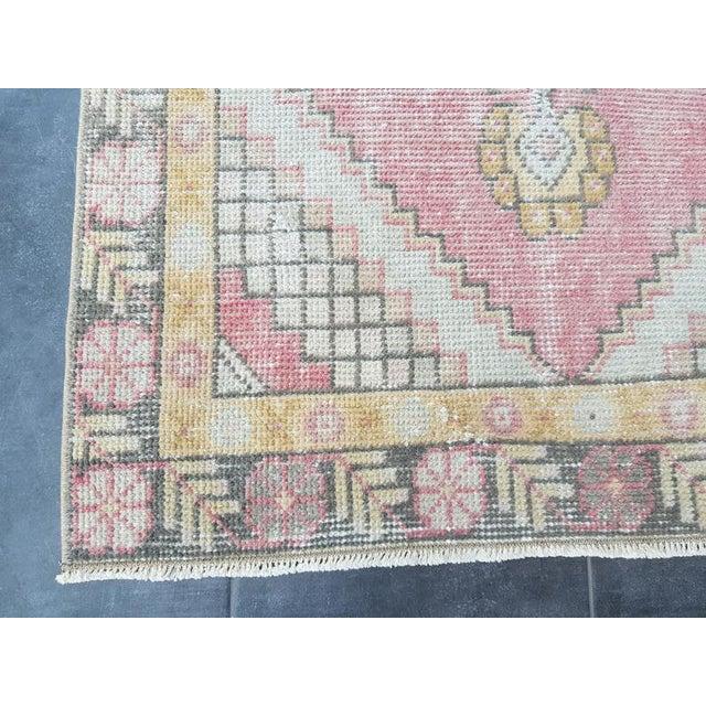 Vintage Faded Oushak Floral Handmade Rug- 2′11″ × 9′1″ For Sale - Image 4 of 11