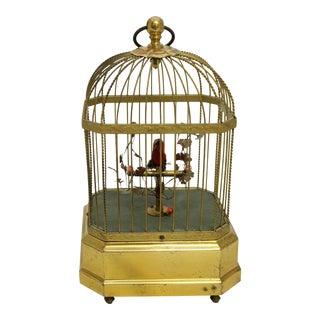 Vintage Singing Bird in Cage For Sale