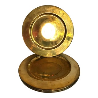 Mid 20th Century Vintage Brass Plate Chargers - Set of 8 For Sale