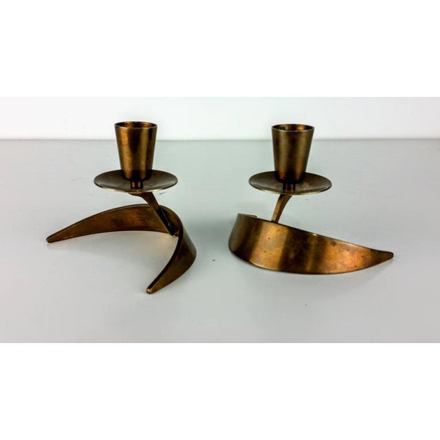 John Prip & Ronald Pearson Bronze Modernist Candle Holders - a Pair - Image 3 of 5
