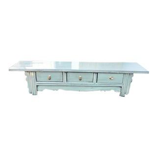 Chinese 3-Drawer Low Cabinet - Gray For Sale