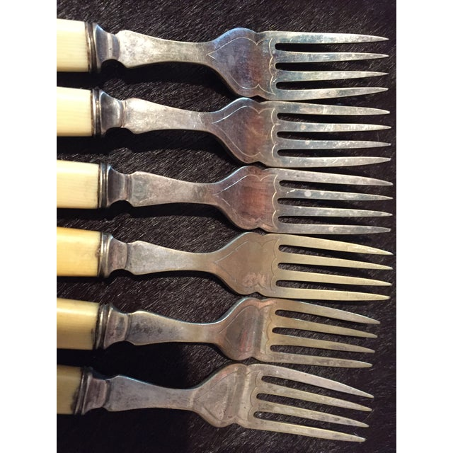 Traditional Late 19th Century Antique Victorian Celluloid Handle Epns Etched Blade Flatware - Fish Service Set of 12 For Sale - Image 3 of 8