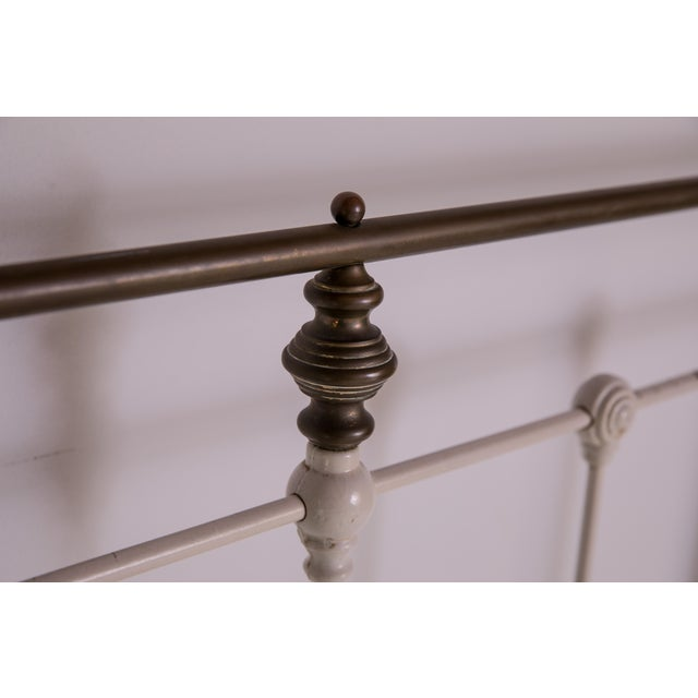 White 1910s Shabby Chic White Iron Victorian Bedframe For Sale - Image 8 of 12