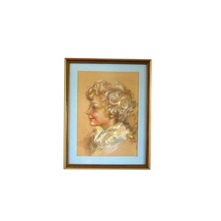 Vintage Signed Pastel Drawing Portrait of a Boy Victorian Style For Sale