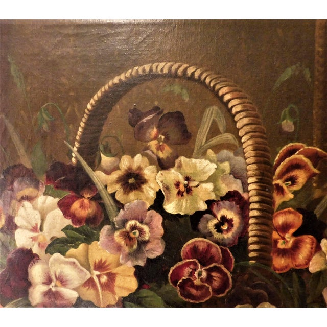 """Oil on Canvas Still Life """"Basket of Pansies"""" For Sale In Washington DC - Image 6 of 7"""