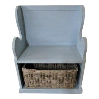 Blue Entry Bench With Wicker Basket Cute Modern Farmhouse For Sale
