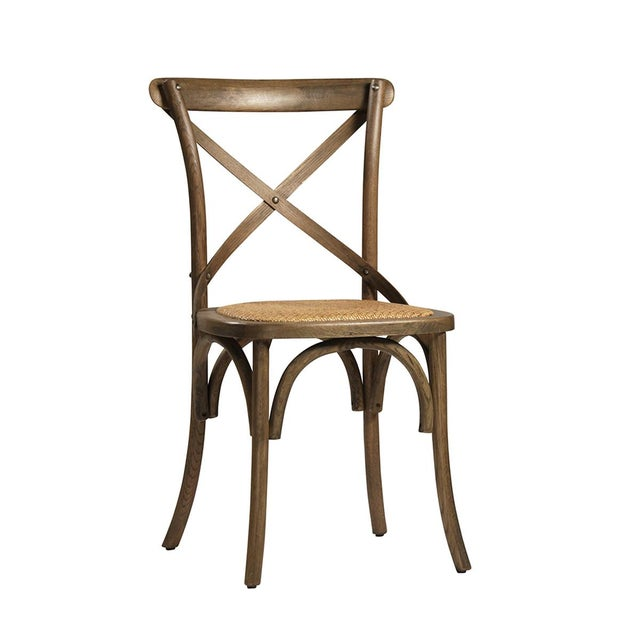 Contemporary Rattan Seat Oak Dining Chair For Sale - Image 3 of 3