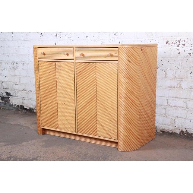 Gabriella Crespi Gabriella Crespi Style Split Reed Rattan Sideboard Cabinet For Sale - Image 4 of 13