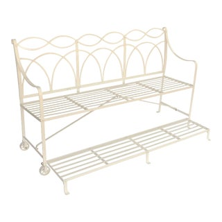 English Garden Bench or Seat with Fold-Down Foot Step of Painted Iron For Sale