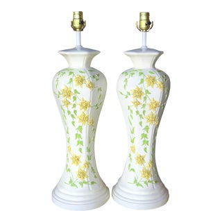 Vintage Boho Chic Mid-Century Modern Flower Lamps-Pair For Sale