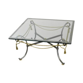 LaBarge Brushed Steel & Brass Rope Tassel Square Glass Top Coffee Table For Sale