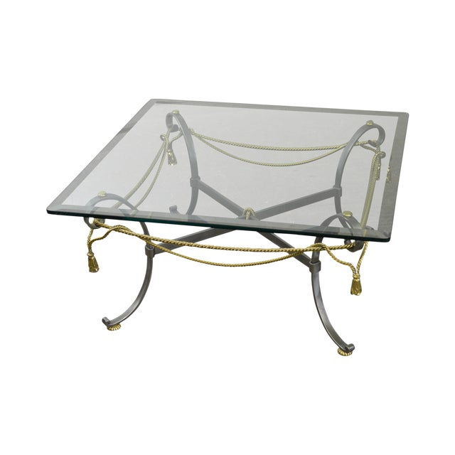 Labarge Brushed Steel Brass Rope Tassel Square Glass Top Coffee Table