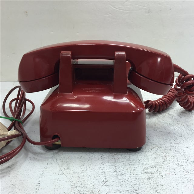 Western Electric Red Rotary Dial Telephone For Sale - Image 4 of 11
