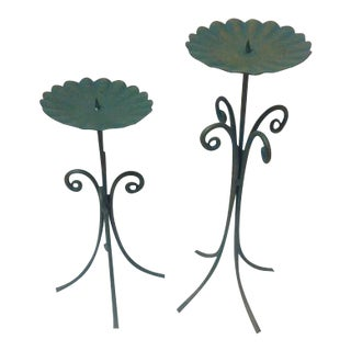 Mid-Century Iron Tripod Pillar Candle Holders - A Pair