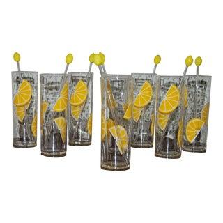 1960s Federal Tom Collins Lemon Glasses & Stirrers - Set of 8 For Sale
