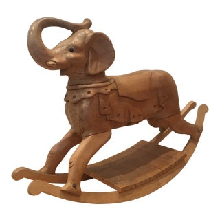Antique Hand Carved Solid Wood Rocking Elephant - India For Sale