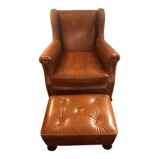 1980s Vintage Leather Club Chair and Ottoman For Sale