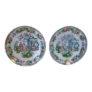 Chinese Figural Famille Rose Plates - a Pair For Sale