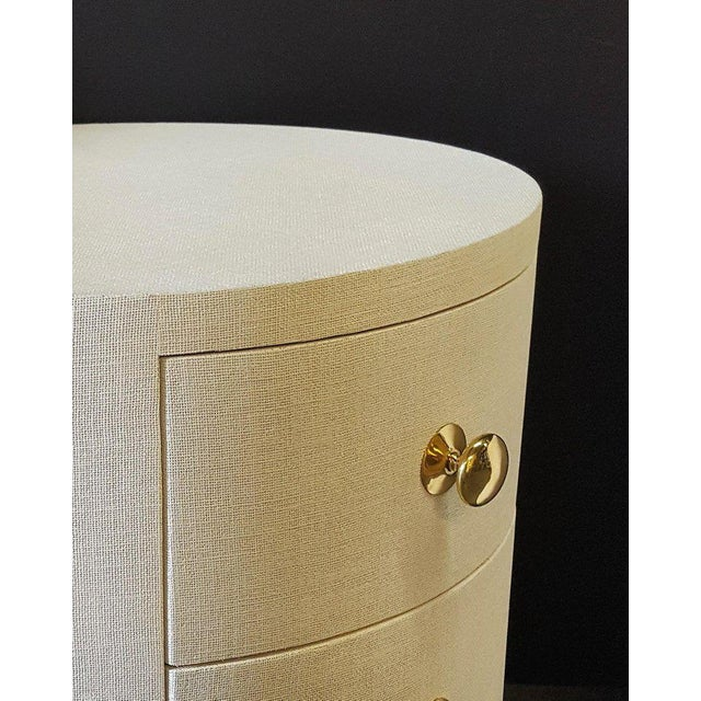 Paul Marra Paul Marra Linen-Wrapped Round Nightstand For Sale - Image 4 of 9