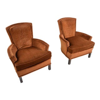 Copper Colored Velour Velvet Lounge Chairs Armchairs With Quilted Medallion For Sale