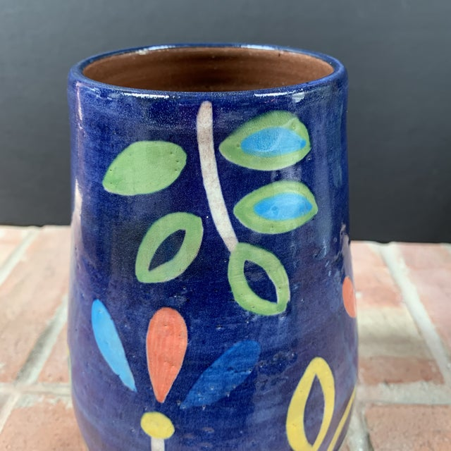 Ceramic Hand Painted Terra Cotta Blue Vase With Colorful Modern Flowers For Sale - Image 7 of 10