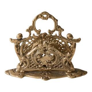 Antique Art Nouveau Brass Cherubs Letter Holder For Sale