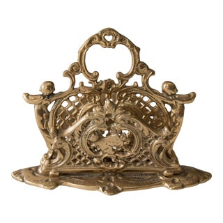 Art Nouveau Brass Cherubs Letter Holder