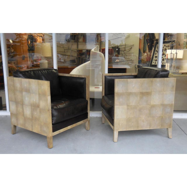 Pair of Jean-Michel Frank Style Shagreen Club Chairs - Image 2 of 8