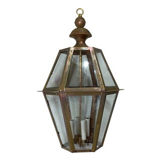 Handcrafted Six Sides Solid Copper and Brass Hanging Lantern For Sale