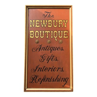 Antique Wood the Newbury Boutique Store Advertising Sign For Sale