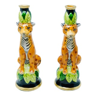 Animalia Gold Leaf Trimed Vintage Candle Holders - a Pair For Sale