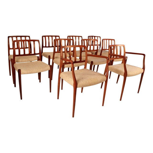 Set of 10 Dining Chairs in East Indian Rosewood by Niels Otto Moller For Sale