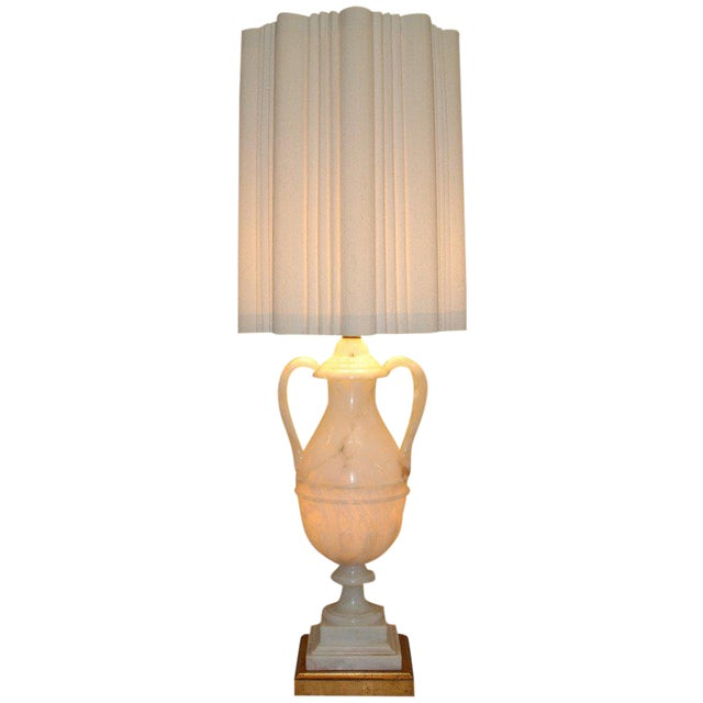 Circa 1950 Hand-Carved Italian Hollywood Regency Alabaster Lamp For Sale