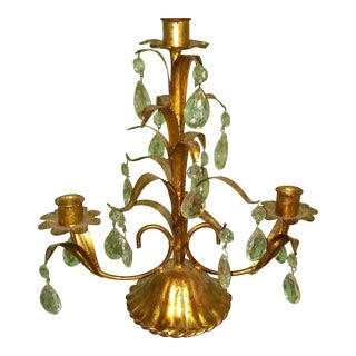 Vintage Italian Metal Tole Candelabra For Sale